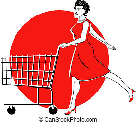 Shopping Cart And Woman Shopping - Shopping cart and woman...
