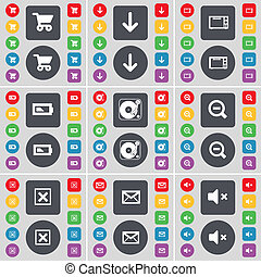 Shopping cart, Arrow down, Microwave, Battery, Gramophone, Magnifying glass, Stop, Message, Mute icon symbol. A large set of flat, colored buttons for your design.