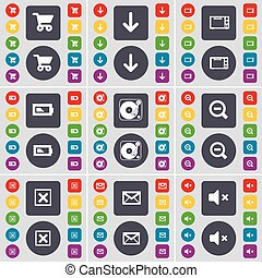 Shopping cart, Arrow down, Microwave, Battery, Gramophone, Magnifying glass, Stop, Message, Mute icon symbol. A large set of flat, colored buttons for your design. Vector