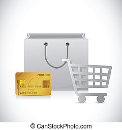 shopping cart, bag and credit card illustration
