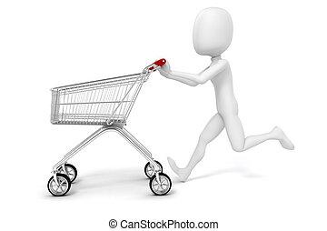 shopping cart, baggrund, hvid, 3, mand