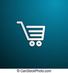 Shopping Cart, Basket Symbol on Blue Background