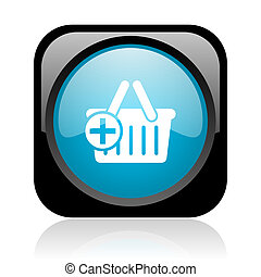 shopping cart black and blue square web glossy icon