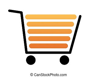 Shopping Cart Black - Black shopping cart with a white...