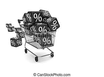 Shopping Cart Black Percent Cubes