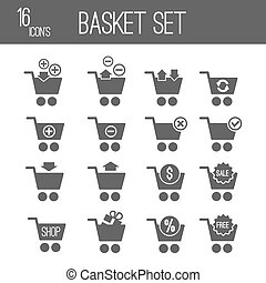 Shopping cart black set icons