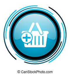 shopping cart blue circle glossy icon