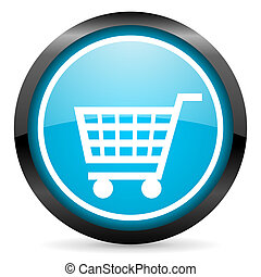 shopping cart blue glossy circle icon on white background
