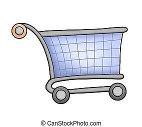 Shopping cart - Blue shopping cart - color illustration.
