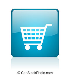 shopping cart blue square web glossy icon