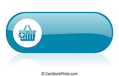 shopping cart blue web glossy icon