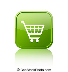 Shopping cart button - Green shopping cart button