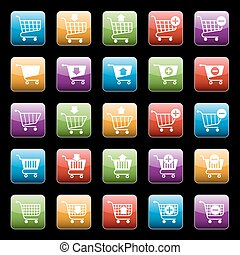 Shopping cart buttons set