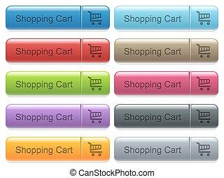 Shopping cart captioned menu button set - Set of shopping...