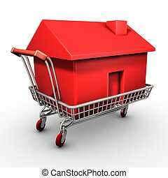 Shopping cart carrying a red house - Isolated shopping cart...