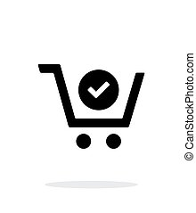Shopping cart check simple icon on white background. Vector...
