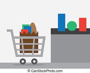 Full shopping cart at store checkout
