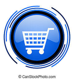 shopping cart circle blue glossy icon