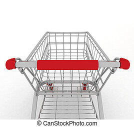 Shopping cart. 3d illustration on white background