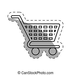 shopping cart commerce online cut line vector illustration...