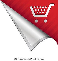 Shopping cart corner tab