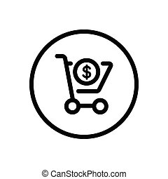 Shopping cart. Dollar symbol. Commerce outline icon in a circle. Vector illustration