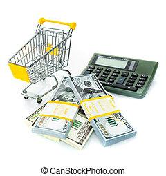Shopping cart, dollars and calculator. Shopping consept