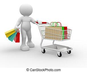 Shopping cart - 3d human with shopping cart - 3d render...