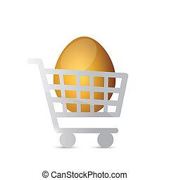 shopping cart eggs illustration design