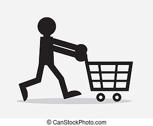 Shopping Cart Figure - Silhouette figure pushing shopping...