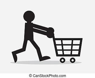 Silhouette figure pushing shopping cart