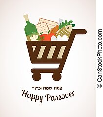 shopping cart filled in with traditional food for passover holiday