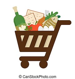 shopping cart filled in with traditional food for passover...