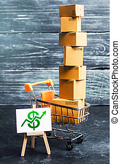 Shopping cart filled with boxes and a stand sign with a green dollar up arrow. shopping online. development of Internet network trade. E-commerce. sales of goods and services through online trading