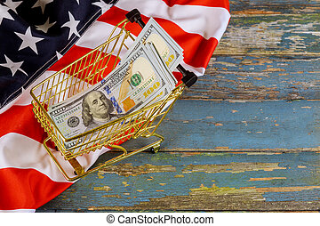 Shopping cart financial concept with US dollars banknotes on american flag