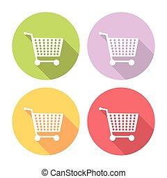 Shopping Cart Flat Icons Set