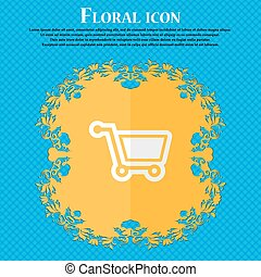 shopping cart. Floral flat design on a blue abstract background with place for your text. Vector