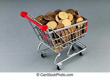 Shopping cart full of coins