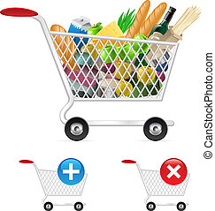 Shopping cart full of different products. Illustration on ...