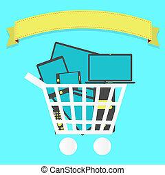 Shopping cart full of electronics