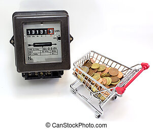 shopping cart full of European currencies and the electricity me
