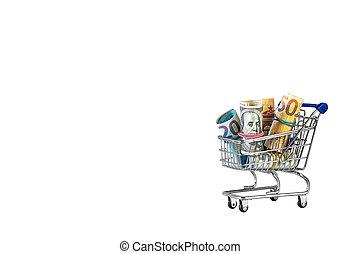 Shopping cart full of money isolated on white background