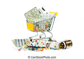 shopping cart full of pills isolated on white. Shopping cart with medicine pills