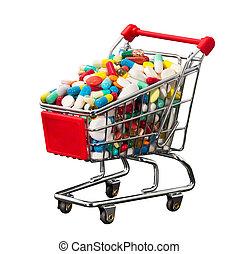 Shopping cart full of pills