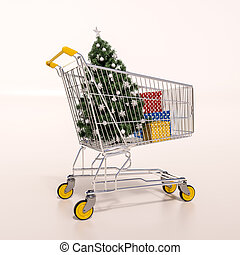 Shopping cart full of purchases in packages and Christamas...