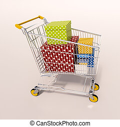 Shopping cart full of purchases in packages - 3d render:...
