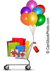 Shopping cart full of shopping bags and gift boxes. With a sale label. Vector