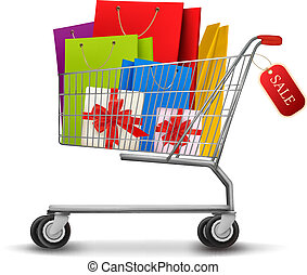Shopping cart full of shopping bags and gift boxes. With a...
