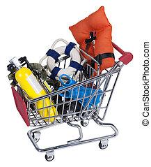Shopping Cart full of Water Sport Equipment - Shopping cart ...