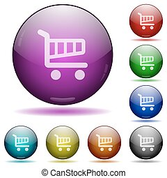 Shopping cart glass sphere buttons